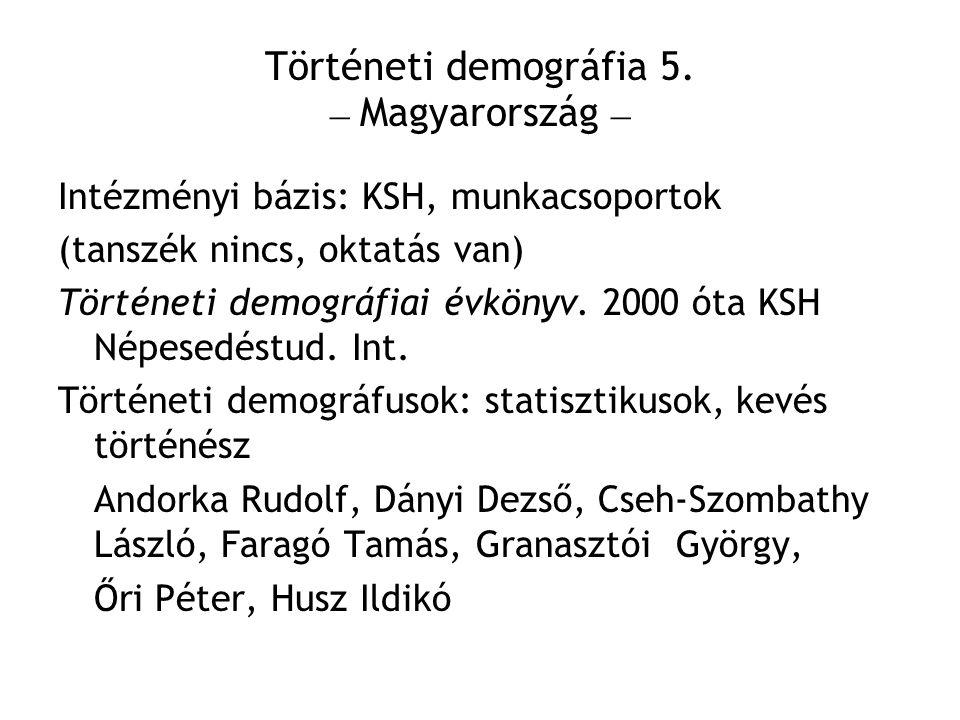 Történeti demográfia 5. – Magyarország –