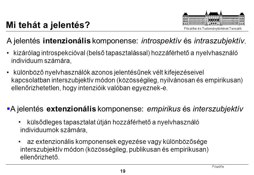 Mi tehát a jelentés A jelentés intenzionális komponense: introspektív és intraszubjektív,