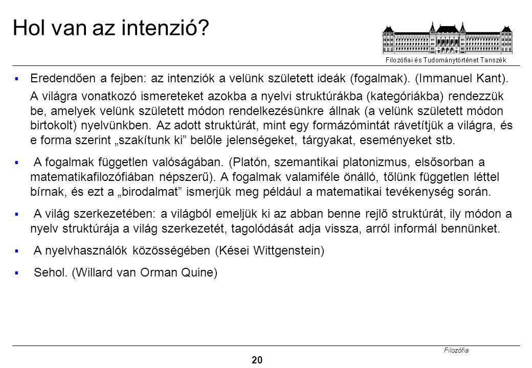 Hol van az intenzió Eredendően a fejben: az intenziók a velünk született ideák (fogalmak). (Immanuel Kant).