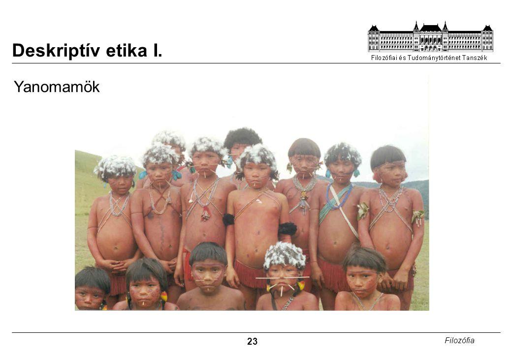 Deskriptív etika I. Yanomamök