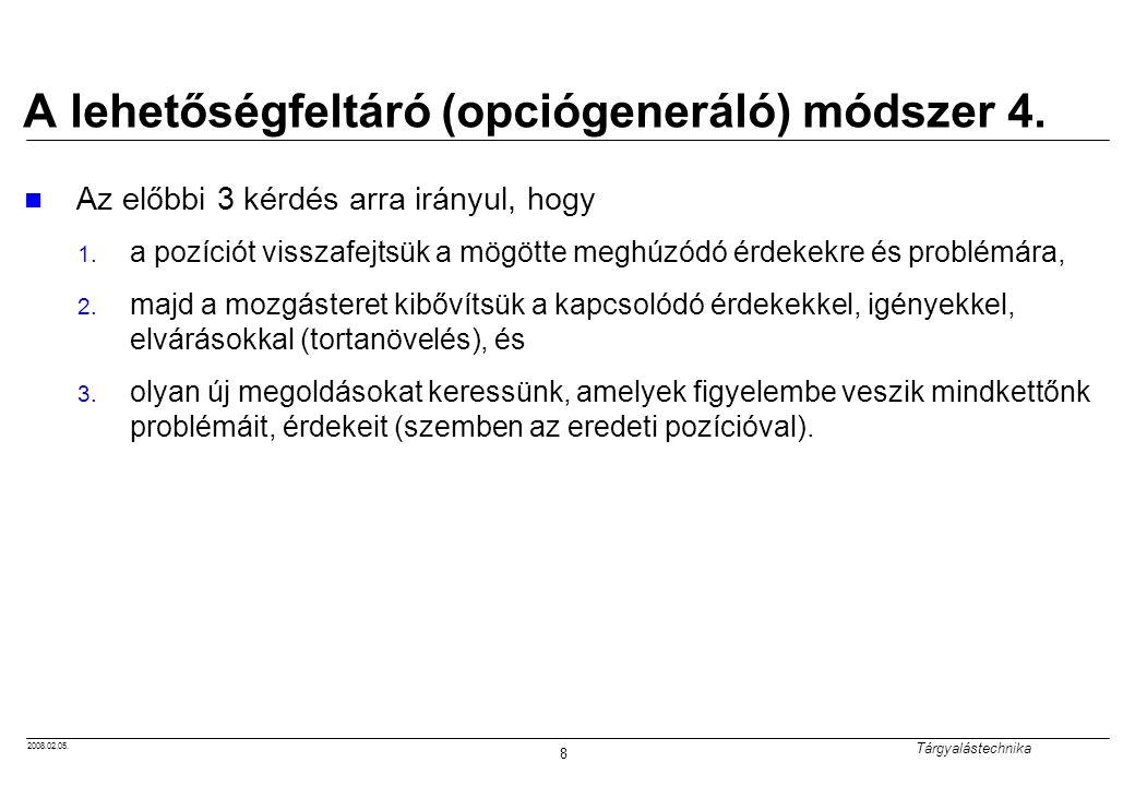 A lehetőségfeltáró (opciógeneráló) módszer 4.