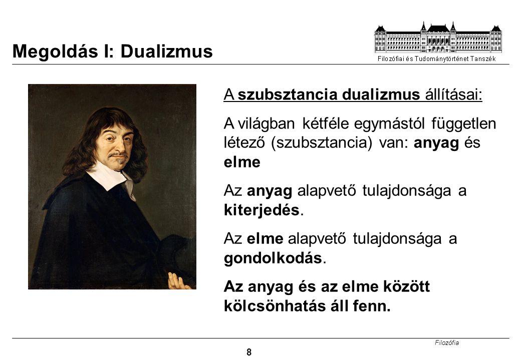 Megoldás I: Dualizmus A szubsztancia dualizmus állításai: