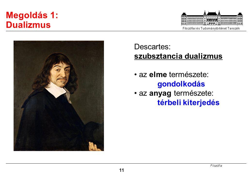 Megoldás 1: Dualizmus Descartes: szubsztancia dualizmus