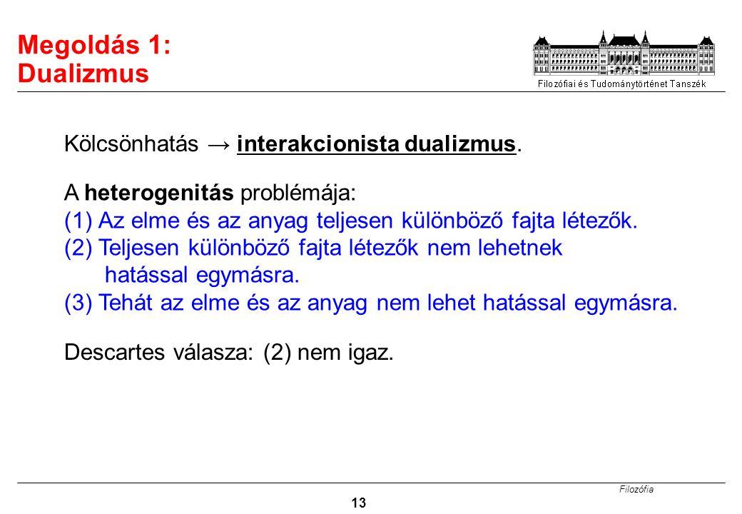 Megoldás 1: Dualizmus Kölcsönhatás → interakcionista dualizmus.