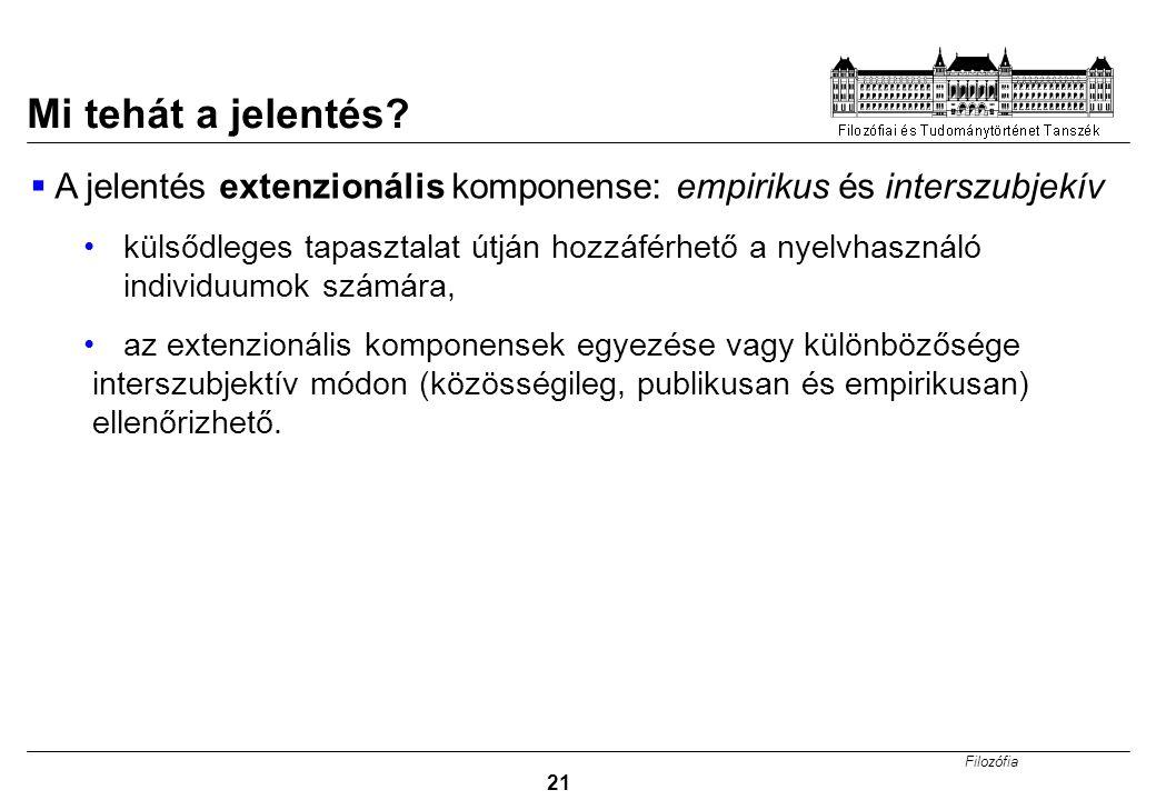 Mi tehát a jelentés A jelentés extenzionális komponense: empirikus és interszubjekív.