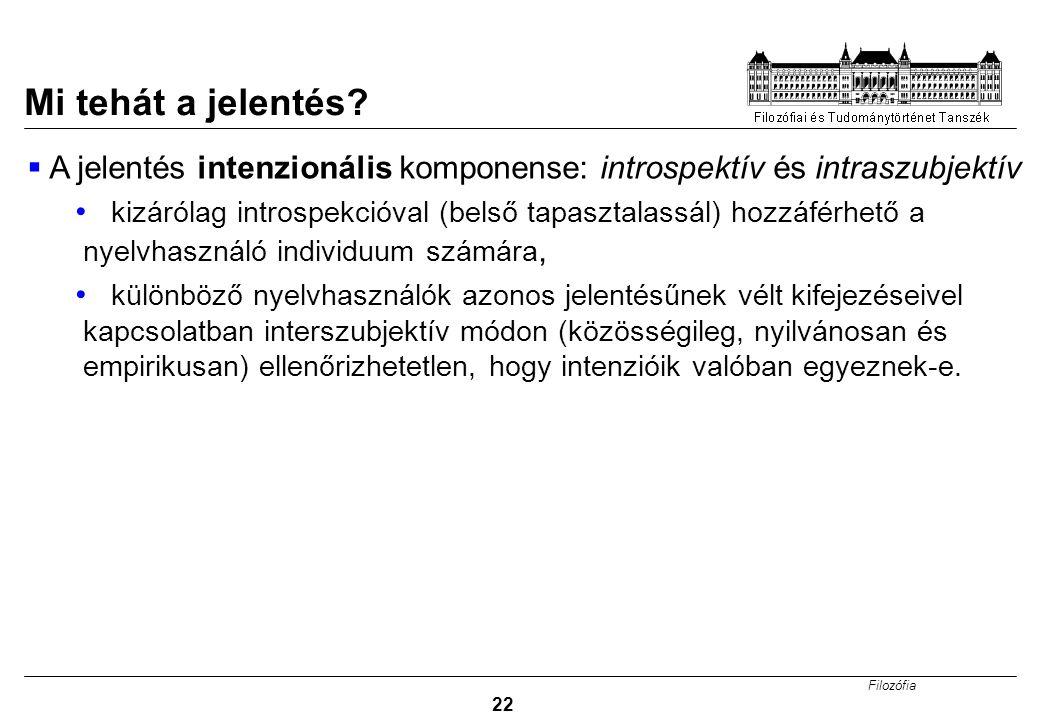 Mi tehát a jelentés A jelentés intenzionális komponense: introspektív és intraszubjektív.