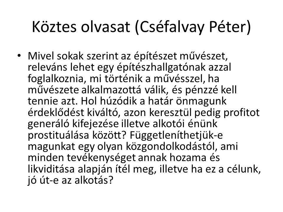 Köztes olvasat (Cséfalvay Péter)