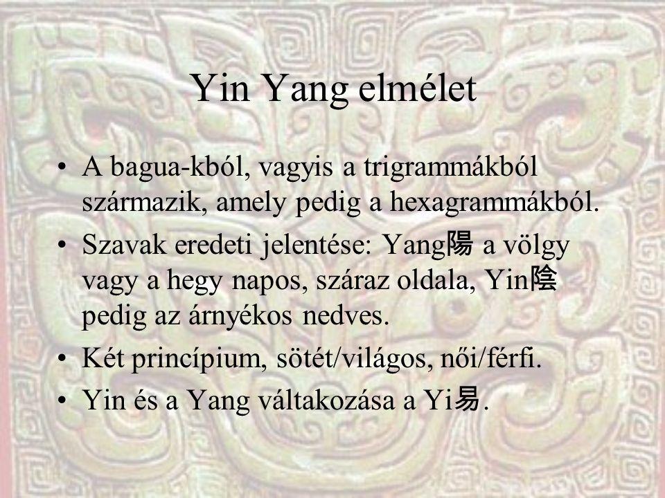 Yin Yang elmélet A bagua-kból, vagyis a trigrammákból származik, amely pedig a hexagrammákból.