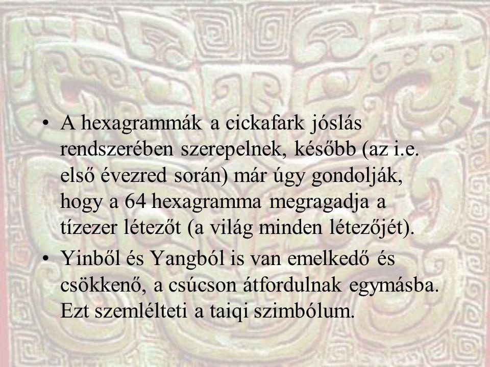 A hexagrammák a cickafark jóslás rendszerében szerepelnek, később (az i.e. első évezred során) már úgy gondolják, hogy a 64 hexagramma megragadja a tízezer létezőt (a világ minden létezőjét).