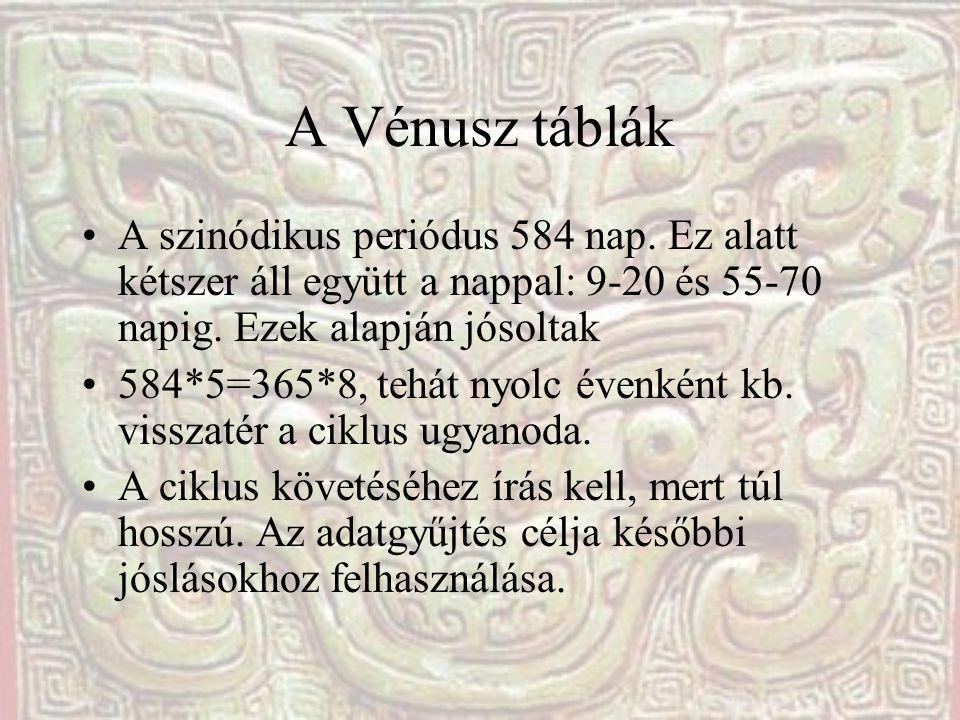 A Vénusz táblák A szinódikus periódus 584 nap. Ez alatt kétszer áll együtt a nappal: 9-20 és 55-70 napig. Ezek alapján jósoltak.