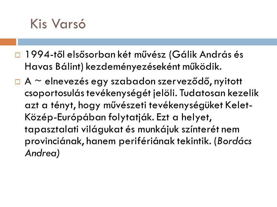 Kis Varsó 1994-től elsősorban két művész (Gálik András és Havas Bálint) kezdeményezéseként működik.
