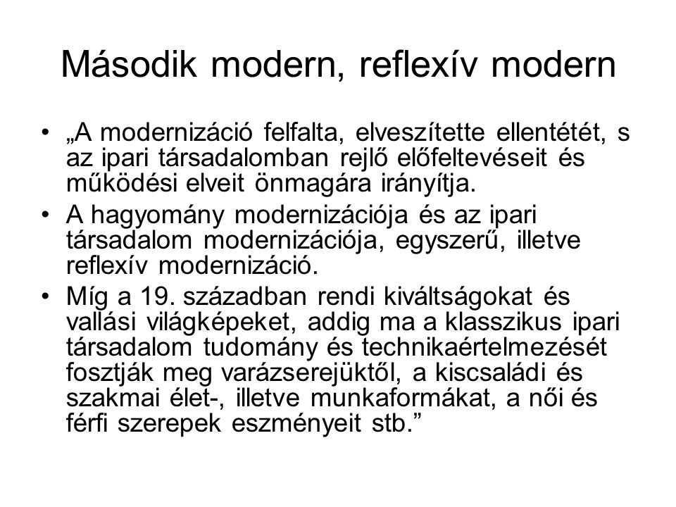 Második modern, reflexív modern