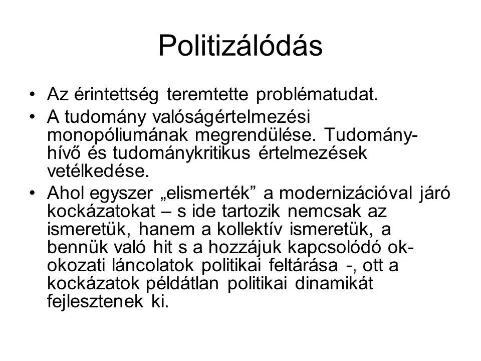 Politizálódás Az érintettség teremtette problématudat.