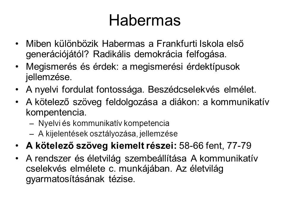 Habermas Miben különbözik Habermas a Frankfurti Iskola első generációjától Radikális demokrácia felfogása.