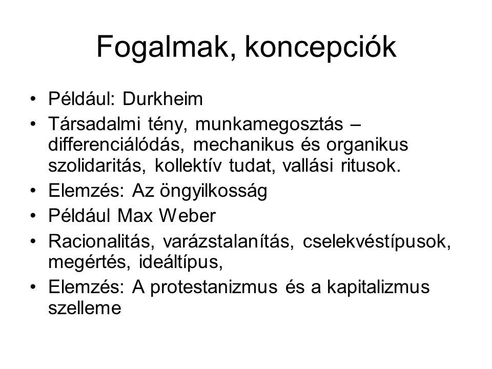 Fogalmak, koncepciók Például: Durkheim