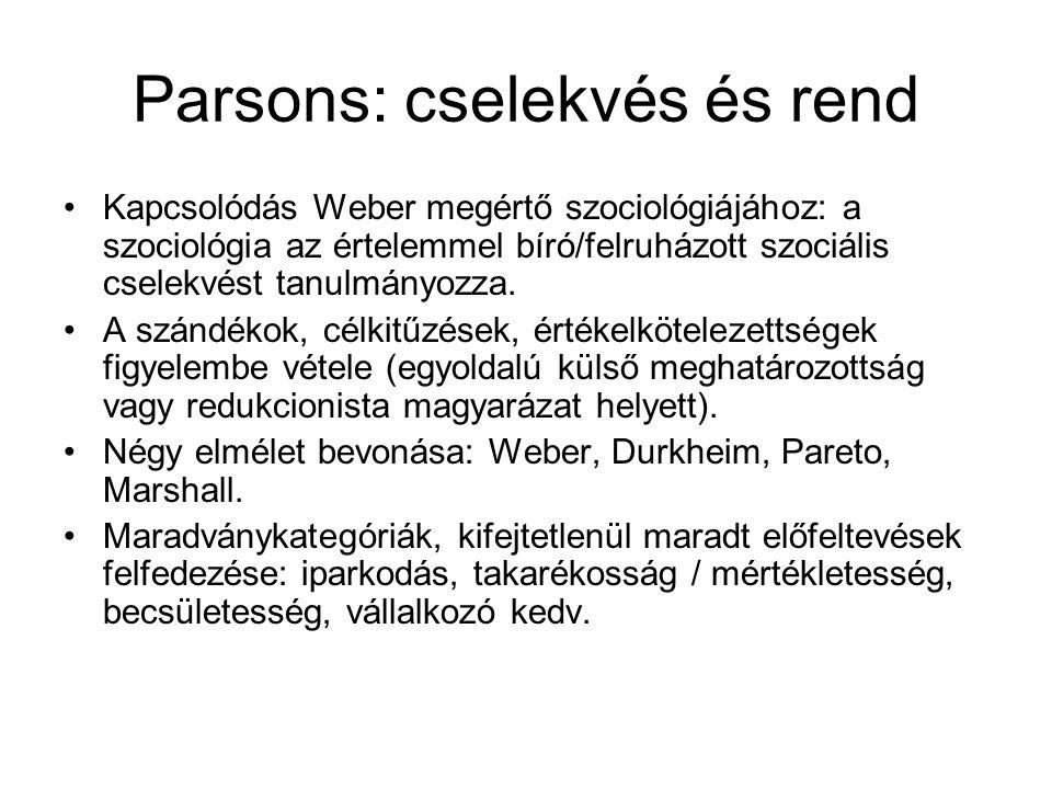 Parsons: cselekvés és rend