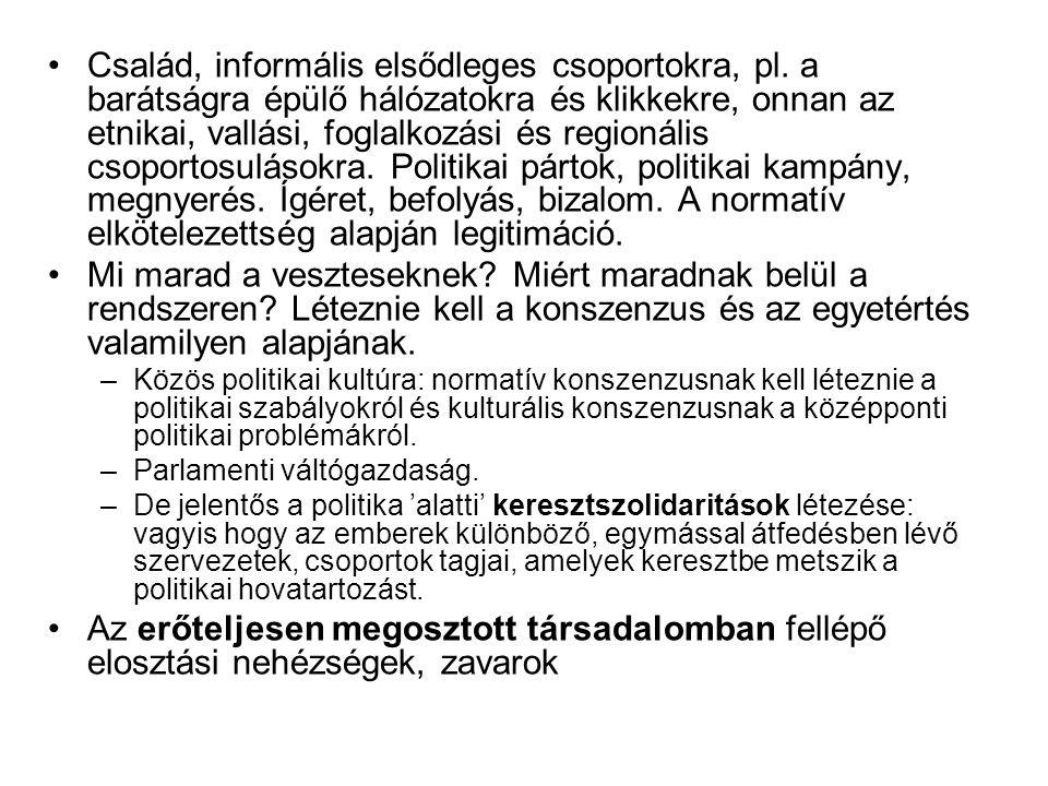 Család, informális elsődleges csoportokra, pl