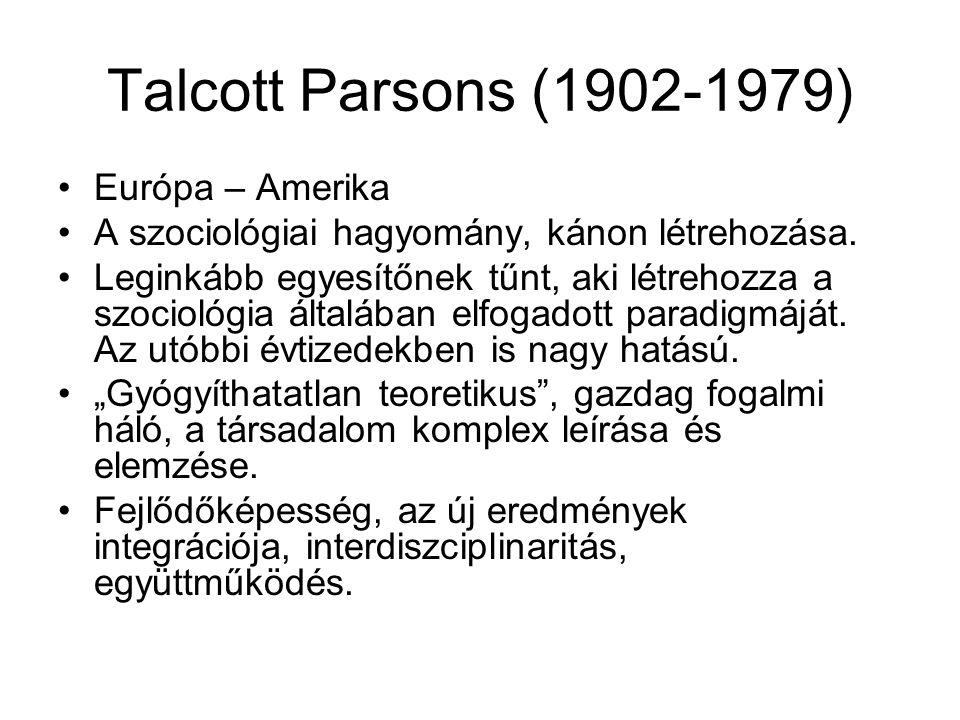 Talcott Parsons (1902-1979) Európa – Amerika