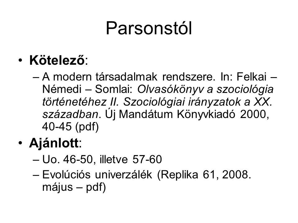 Parsonstól Kötelező: Ajánlott: