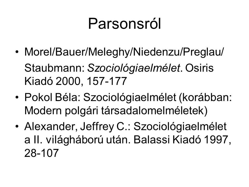 Parsonsról Morel/Bauer/Meleghy/Niedenzu/Preglau/