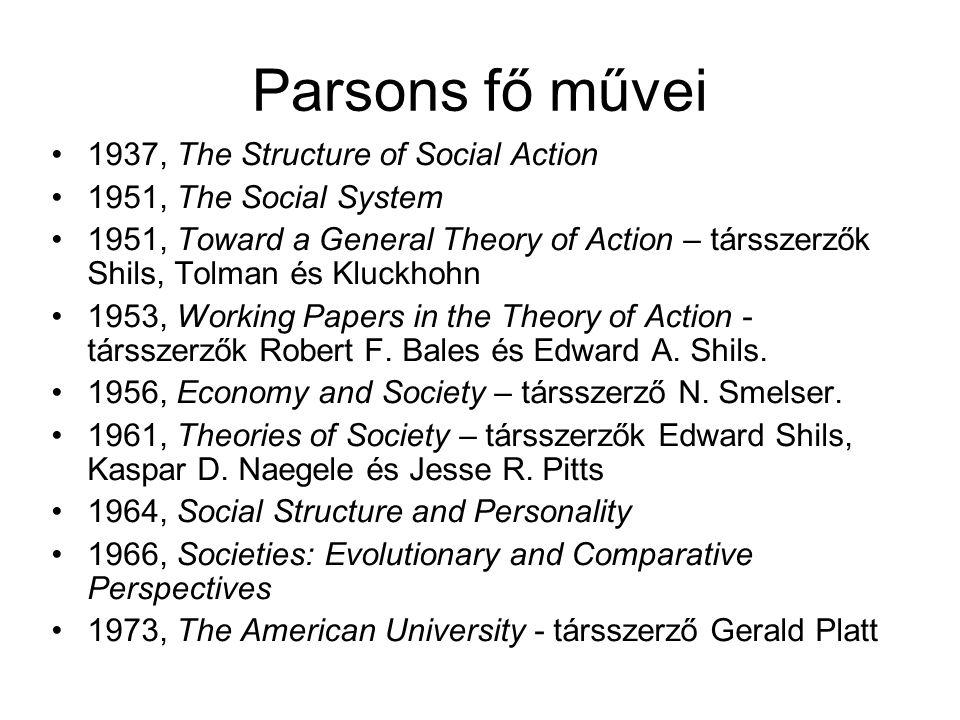 Parsons fő művei 1937, The Structure of Social Action