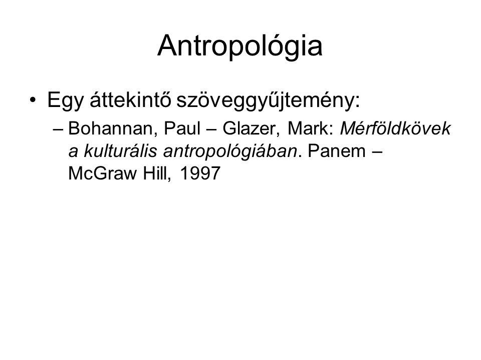 Antropológia Egy áttekintő szöveggyűjtemény: