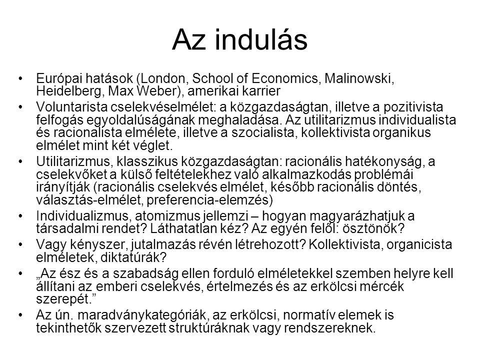 Az indulás Európai hatások (London, School of Economics, Malinowski, Heidelberg, Max Weber), amerikai karrier.