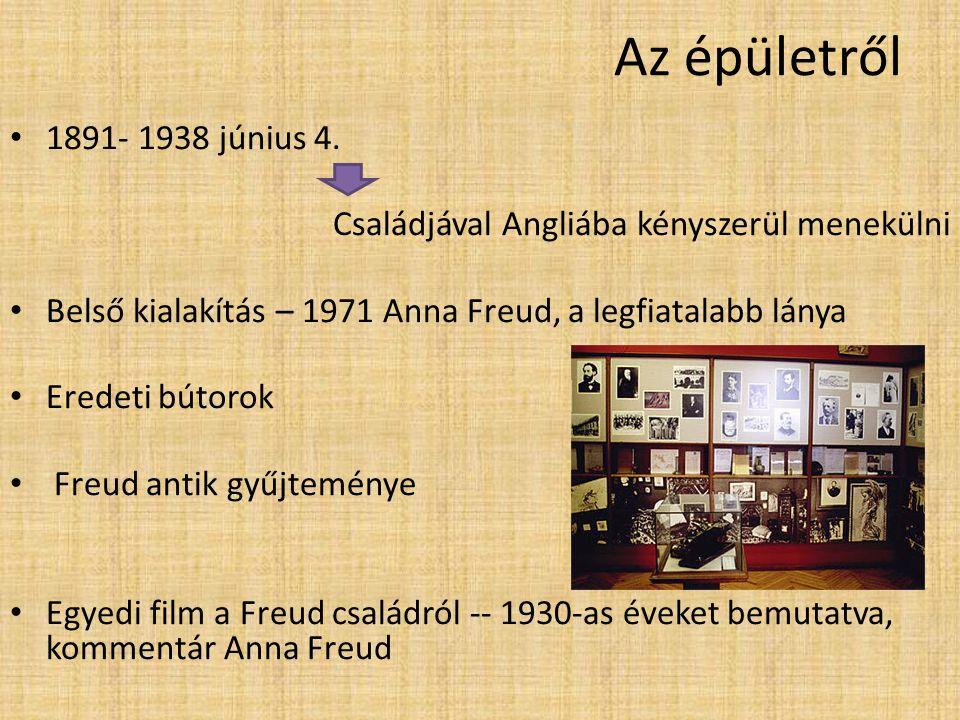 Az épületről 1891- 1938 június 4. Családjával Angliába kényszerül menekülni. Belső kialakítás – 1971 Anna Freud, a legfiatalabb lánya.