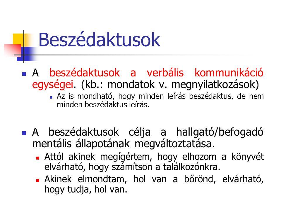 Beszédaktusok A beszédaktusok a verbális kommunikáció egységei. (kb.: mondatok v. megnyilatkozások)