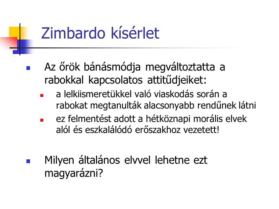 Zimbardo kísérlet Az őrök bánásmódja megváltoztatta a rabokkal kapcsolatos attitűdjeiket: