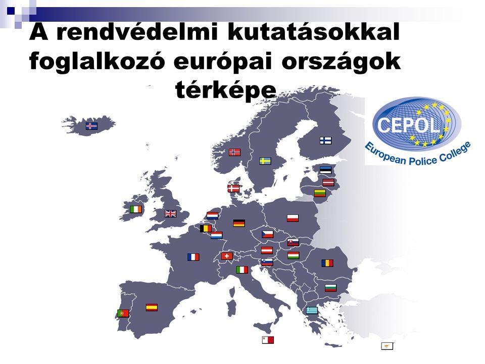 A rendvédelmi kutatásokkal foglalkozó európai országok térképe