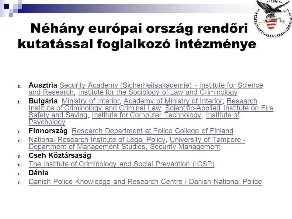 Néhány európai ország rendőri kutatással foglalkozó intézménye