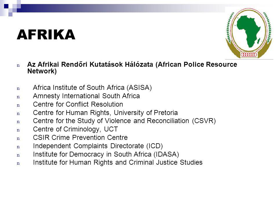 AFRIKA Az Afrikai Rendőri Kutatások Hálózata (African Police Resource Network) Africa Institute of South Africa (ASISA)