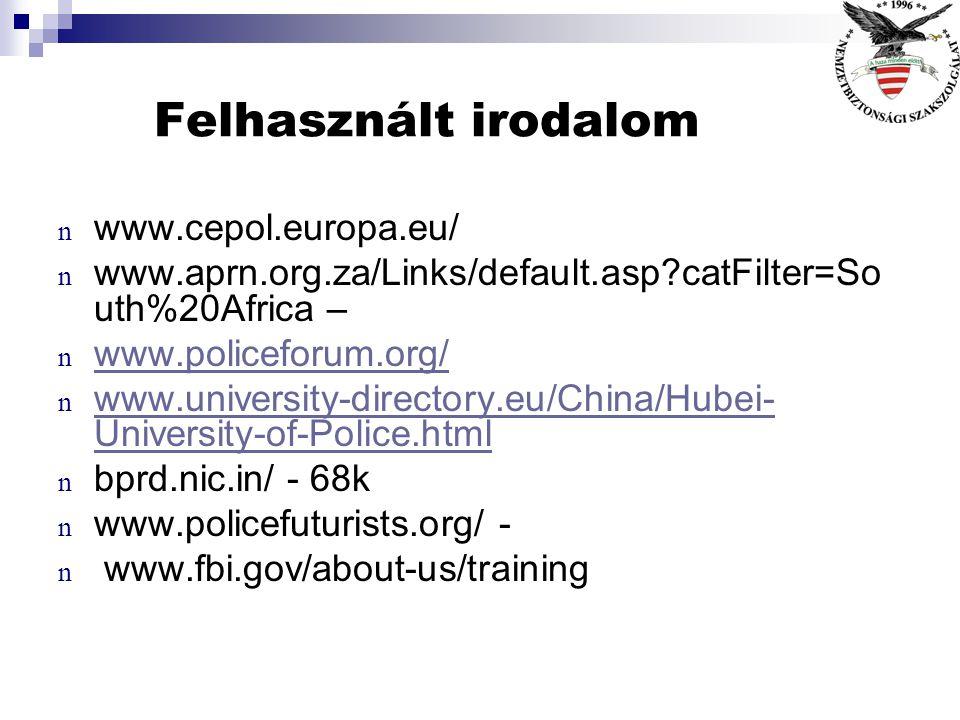 Felhasznált irodalom www.cepol.europa.eu/