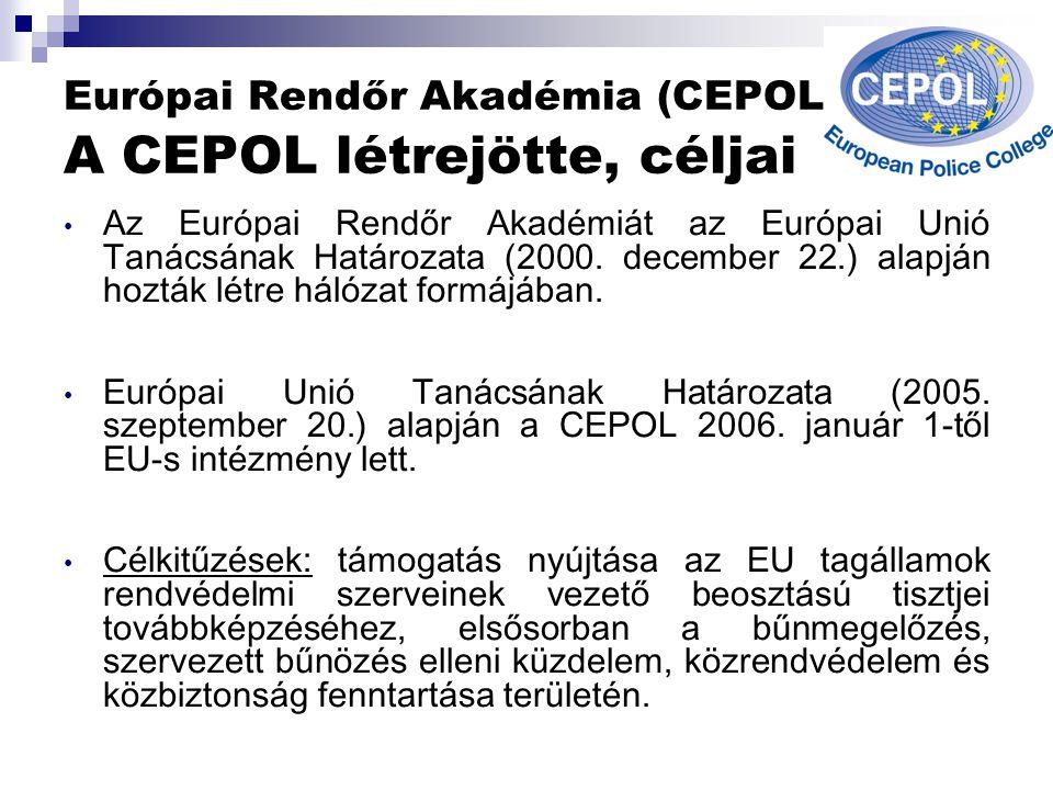 Európai Rendőr Akadémia (CEPOL) A CEPOL létrejötte, céljai