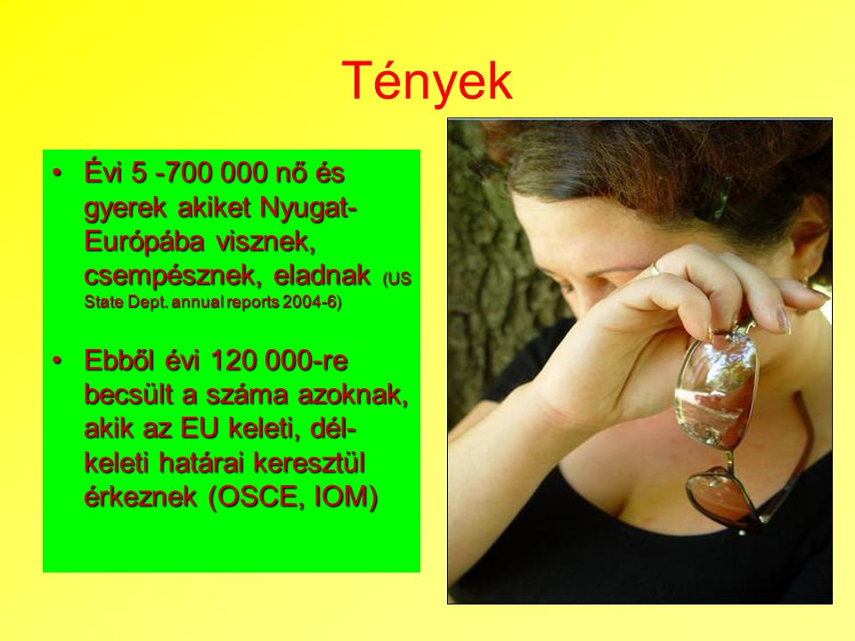 Tények Évi 5 -700 000 nő és gyerek akiket Nyugat-Európába visznek, csempésznek, eladnak (US State Dept. annual reports 2004-6)
