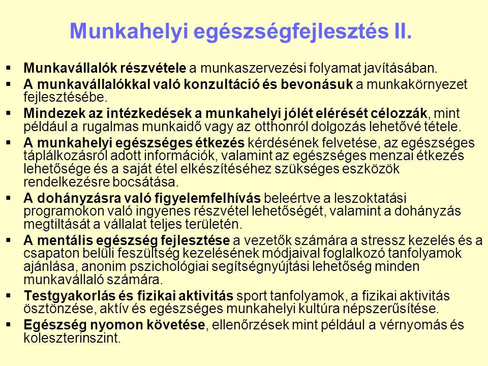 Munkahelyi egészségfejlesztés II.
