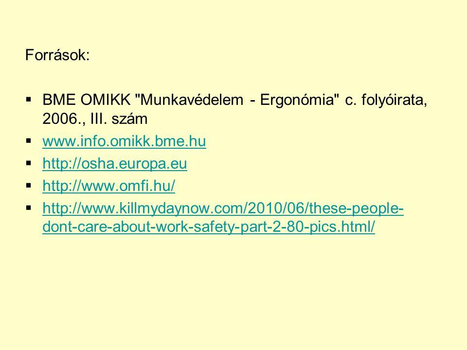 Források: BME OMIKK Munkavédelem - Ergonómia c. folyóirata, 2006., III. szám. www.info.omikk.bme.hu.