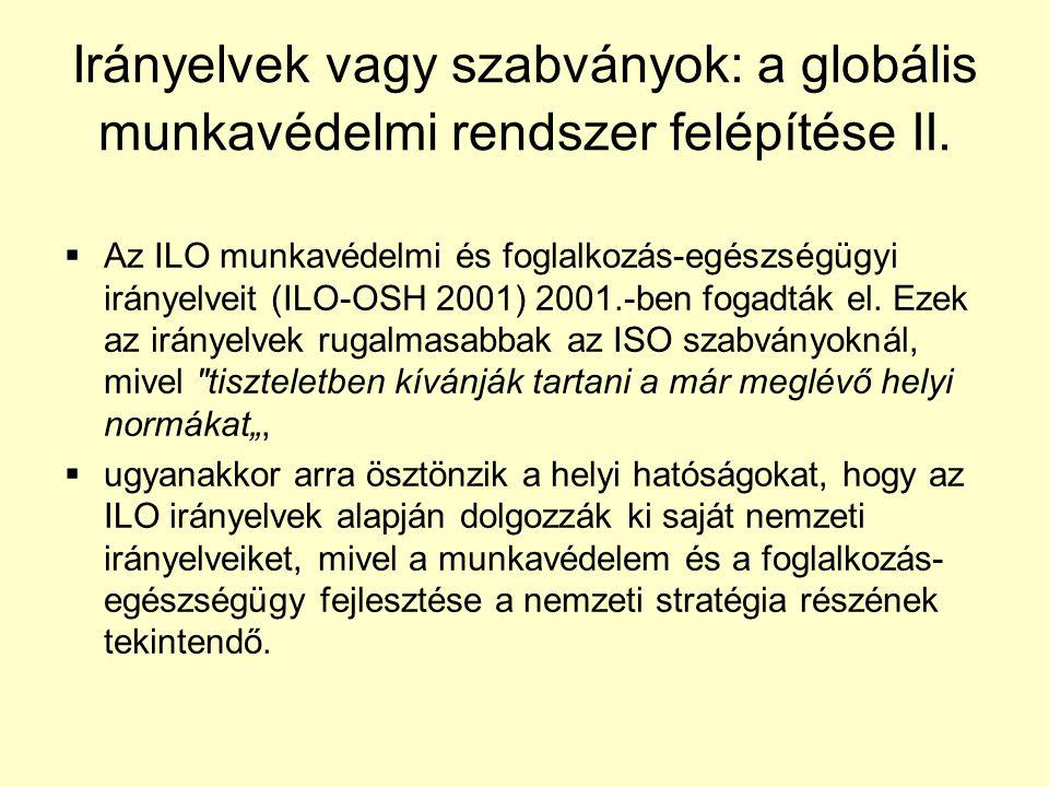 Irányelvek vagy szabványok: a globális munkavédelmi rendszer felépítése II.
