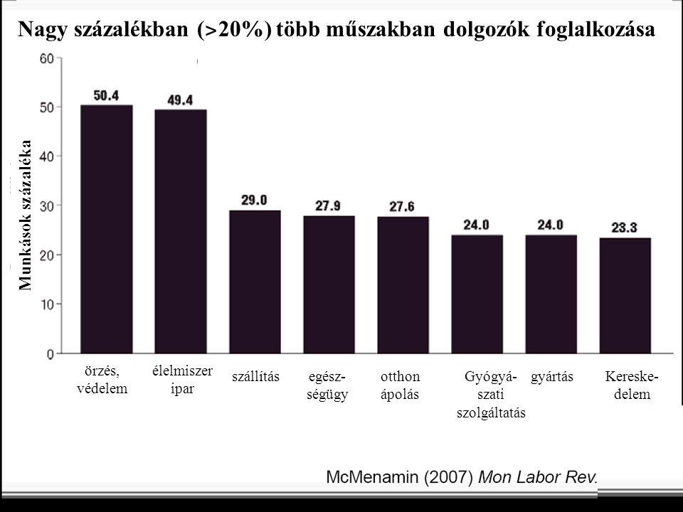 Nagy százalékban (˃20%) több műszakban dolgozók foglalkozása
