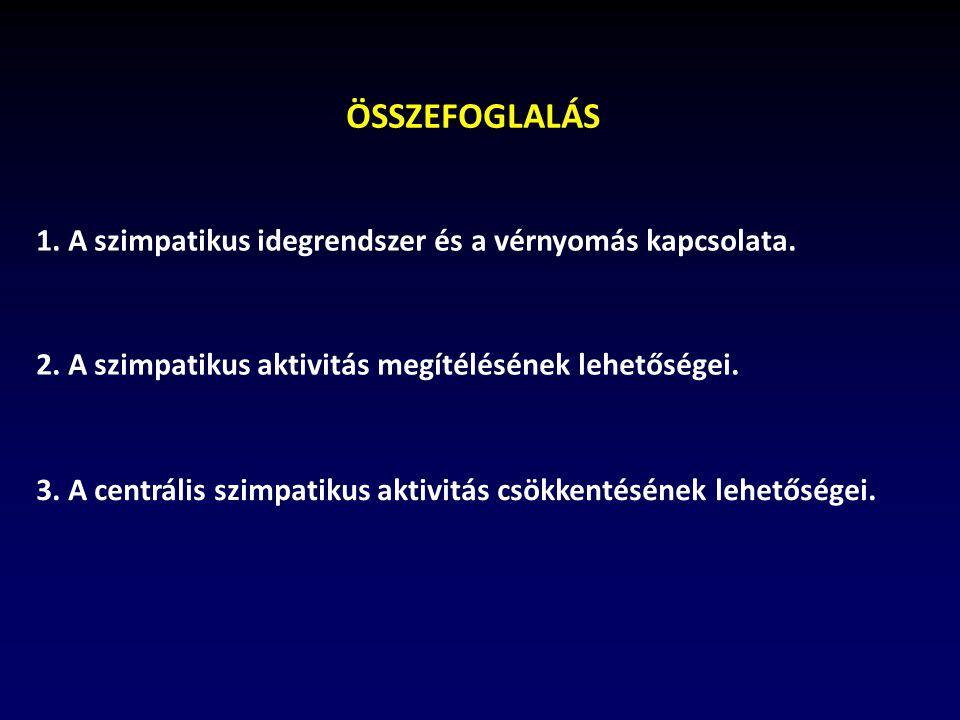 ÖSSZEFOGLALÁS 1. A szimpatikus idegrendszer és a vérnyomás kapcsolata.