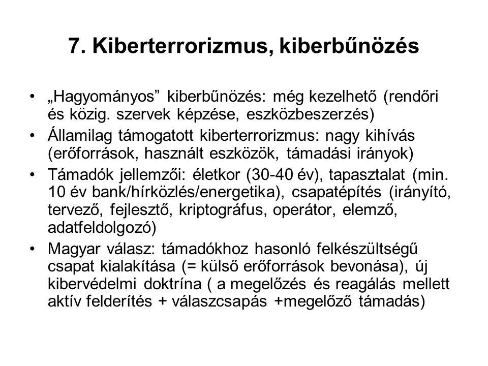 7. Kiberterrorizmus, kiberbűnözés