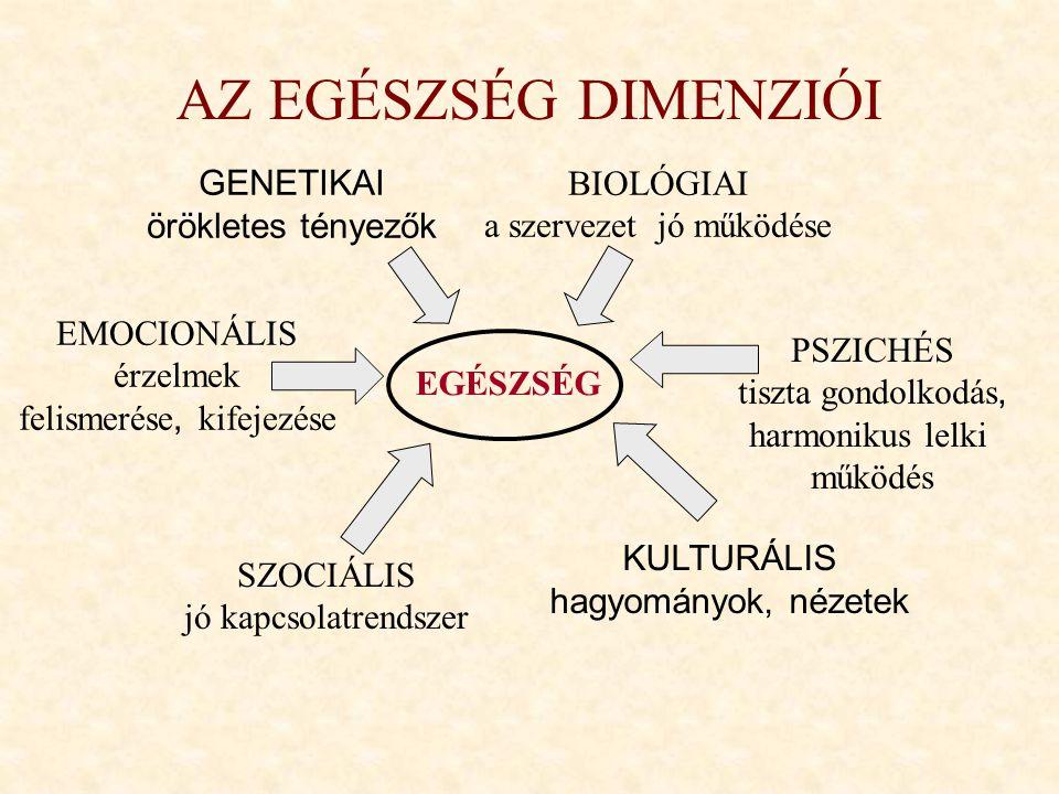 AZ EGÉSZSÉG DIMENZIÓI GENETIKAI örökletes tényezők BIOLÓGIAI