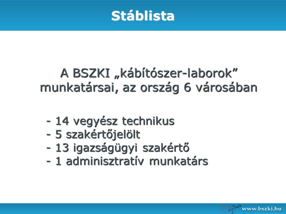 """A BSZKI """"kábítószer-laborok munkatársai, az ország 6 városában"""