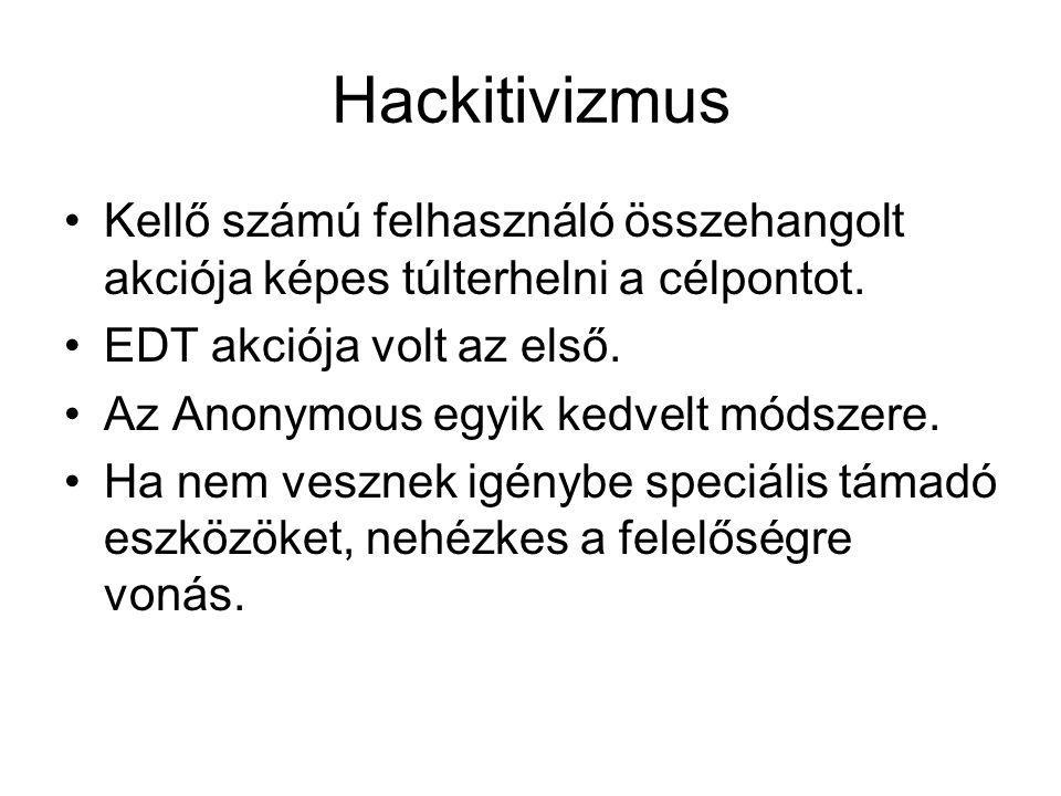 Hackitivizmus Kellő számú felhasználó összehangolt akciója képes túlterhelni a célpontot. EDT akciója volt az első.