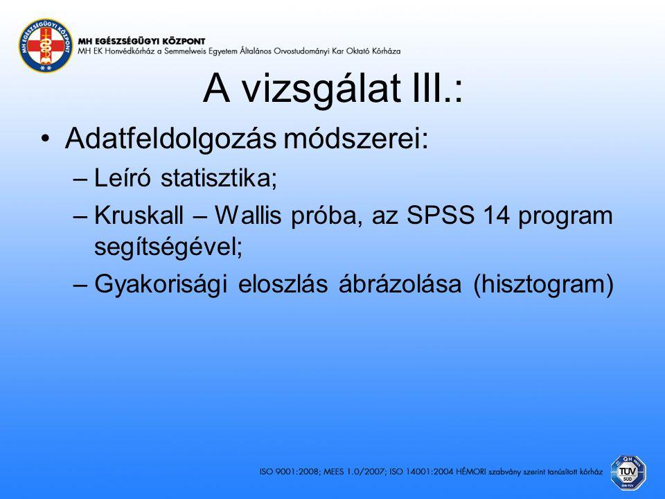 A vizsgálat III.: Adatfeldolgozás módszerei: Leíró statisztika;