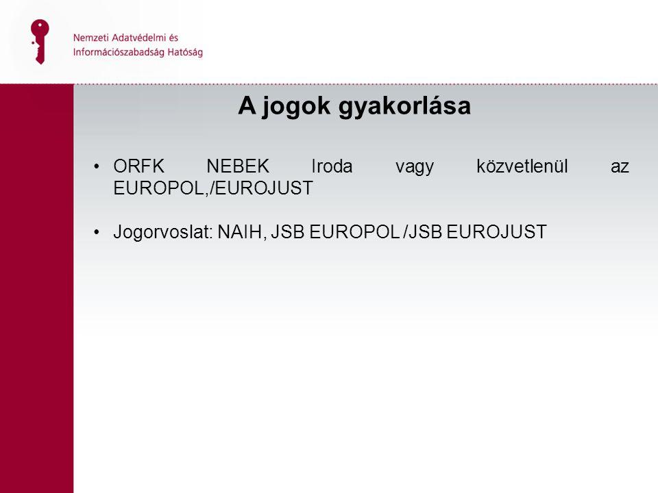A jogok gyakorlása ORFK NEBEK Iroda vagy közvetlenül az EUROPOL,/EUROJUST.