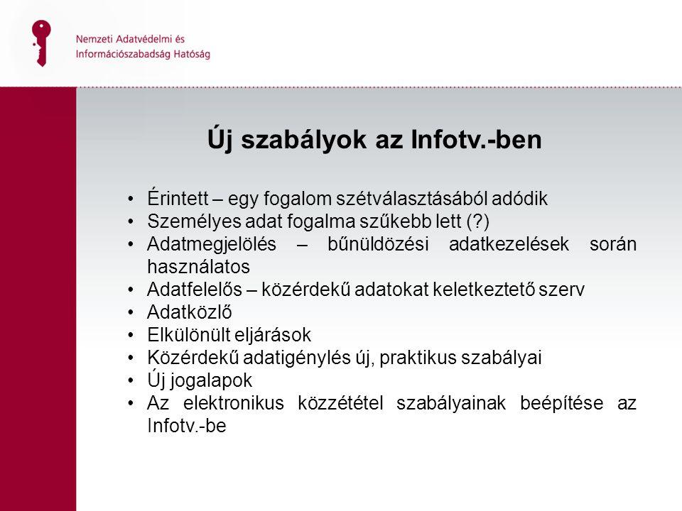 Új szabályok az Infotv.-ben