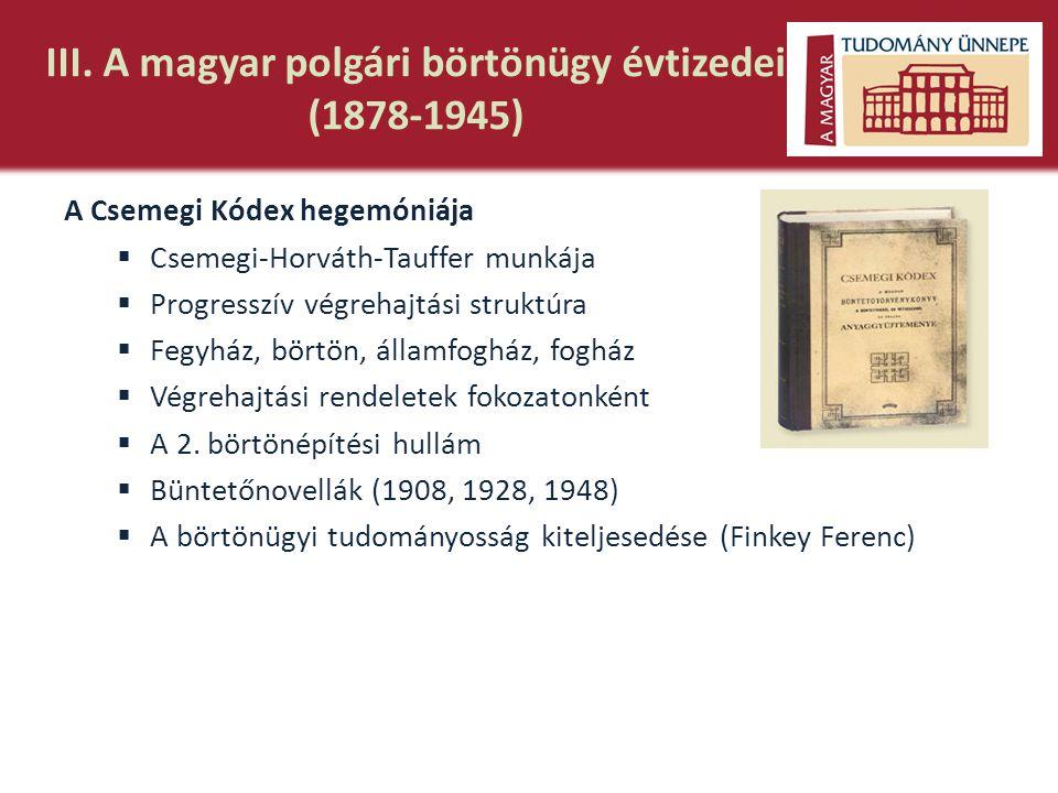 III. A magyar polgári börtönügy évtizedei