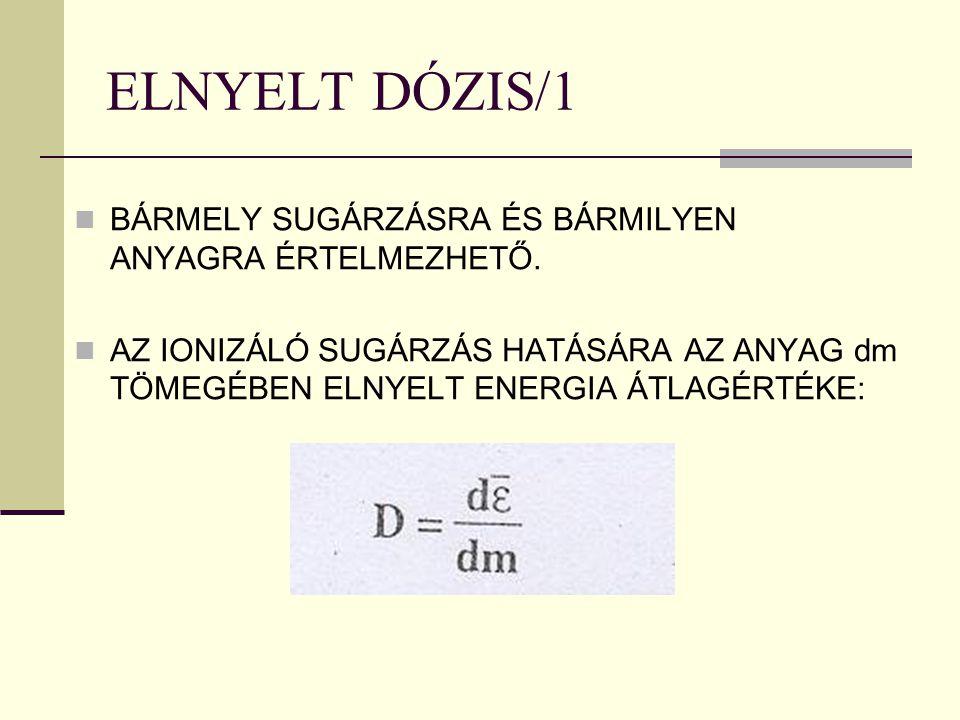 ELNYELT DÓZIS/1 BÁRMELY SUGÁRZÁSRA ÉS BÁRMILYEN ANYAGRA ÉRTELMEZHETŐ.